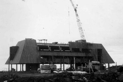 Construction of Kewalo Marine Lab (circa 1971).